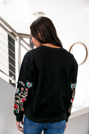 Evelyn Embroidered Floral Sweatshirt