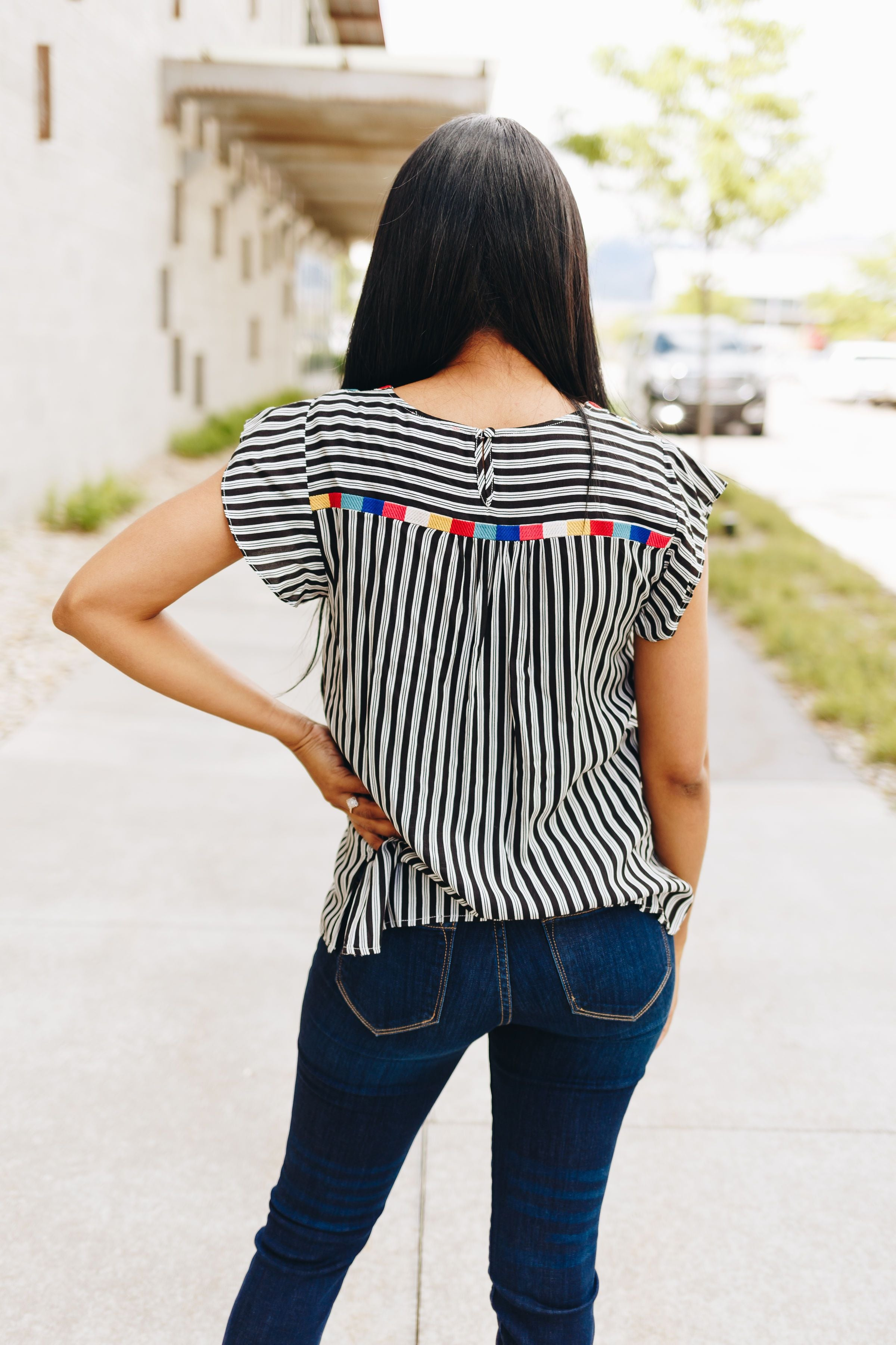 Fiesta Embroidered + Striped Blouse