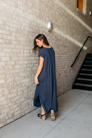 Free And Easy Maxi Dress In Navy - ALL SALES FINAL