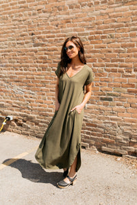 Free And Easy Maxi Dress In Olive - ALL SALES FINAL
