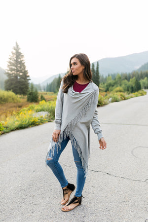 Fringe Benefits Cardigan In Gray