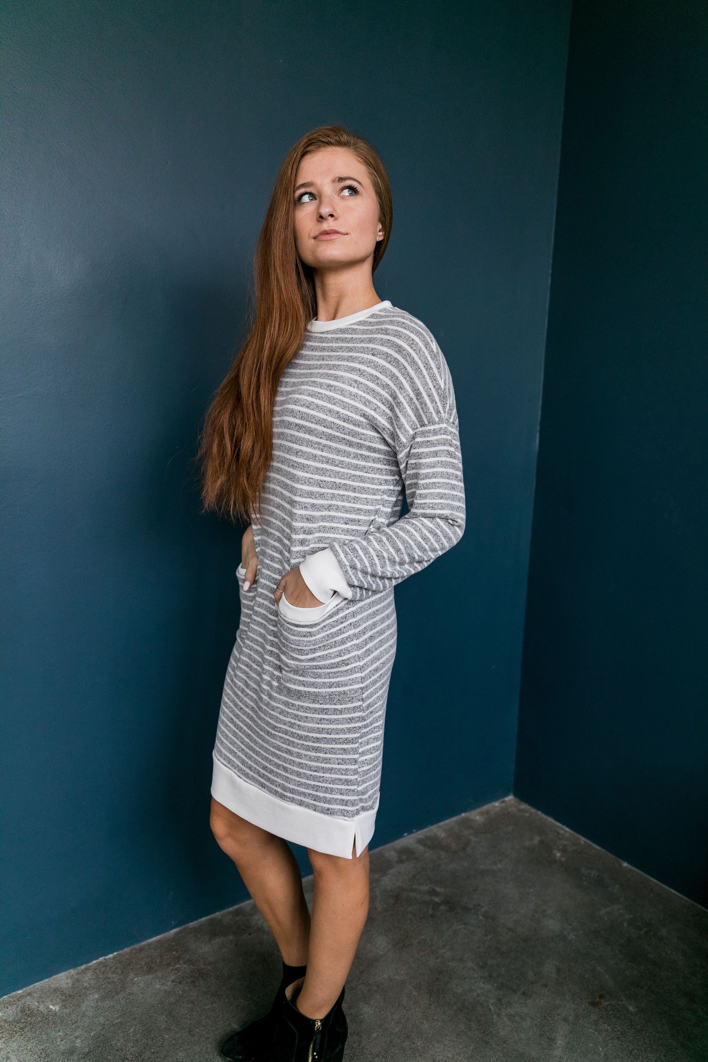 Georgia On My Mind Dress In Gray + White - ALL SALES FINAL