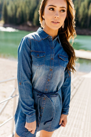 Hey There Delilah Denim Dress - ALL SALES FINAL