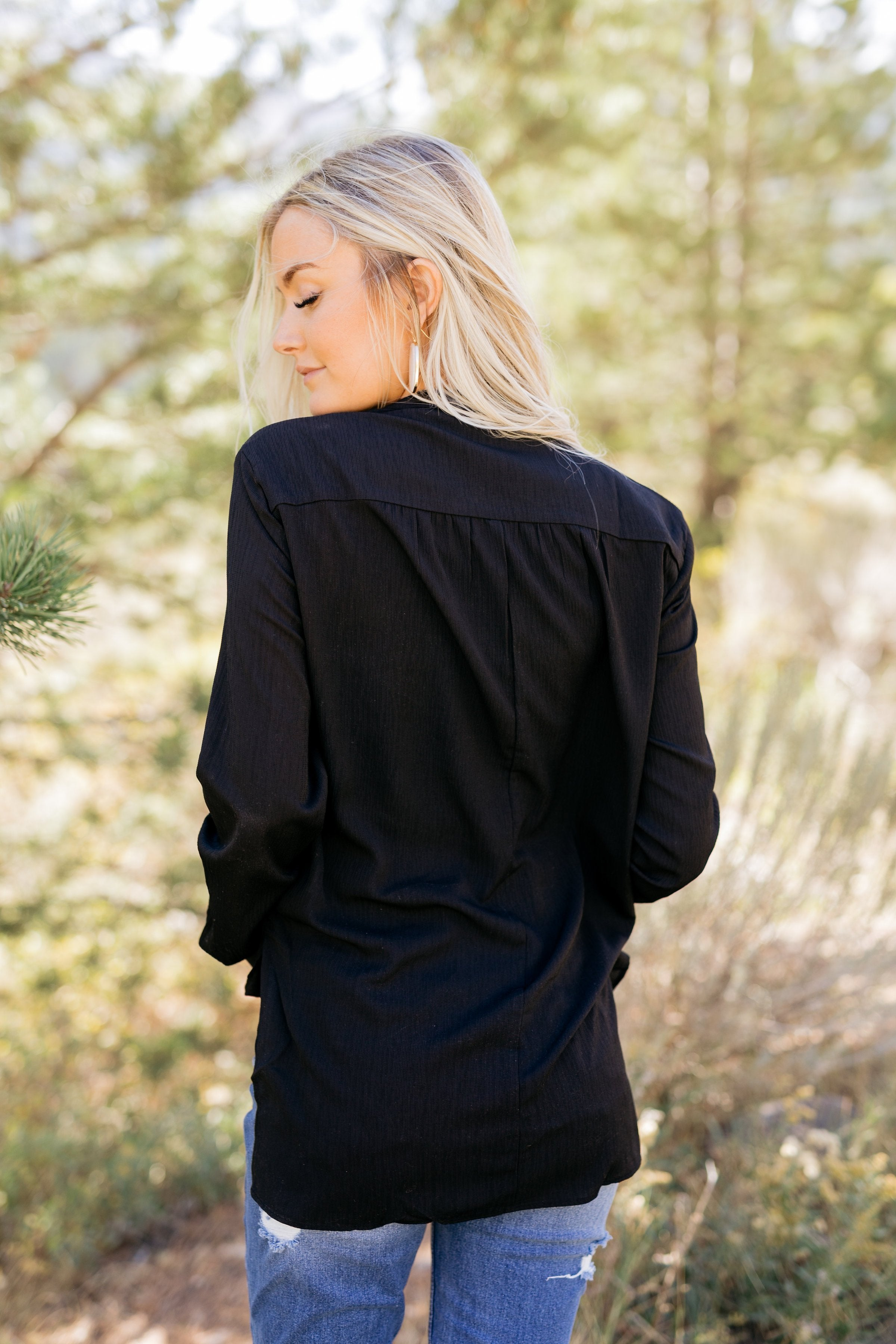 Hillary High Low Wrap Top In Black - ALL SALES FINAL