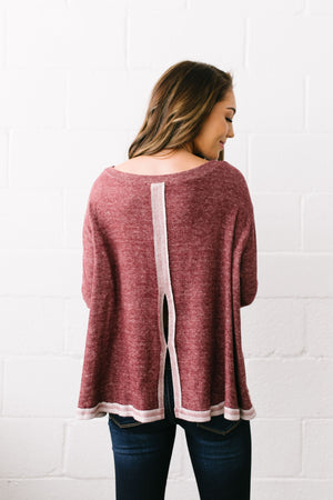 Hipster Heathered Tunic In Faded Burgundy - ALL SALES FINAL