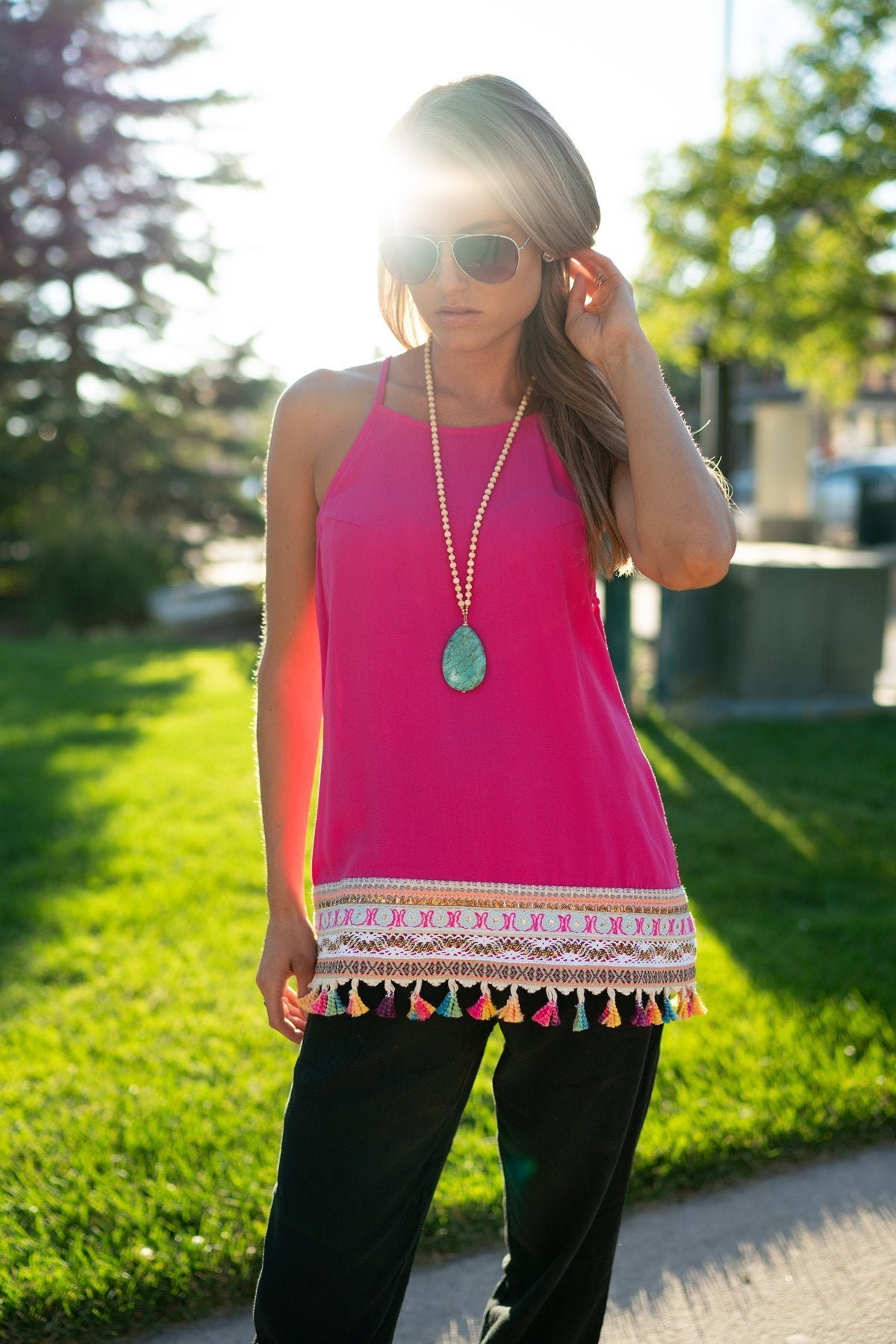 Hot Pink Embroidered Tassel Halter