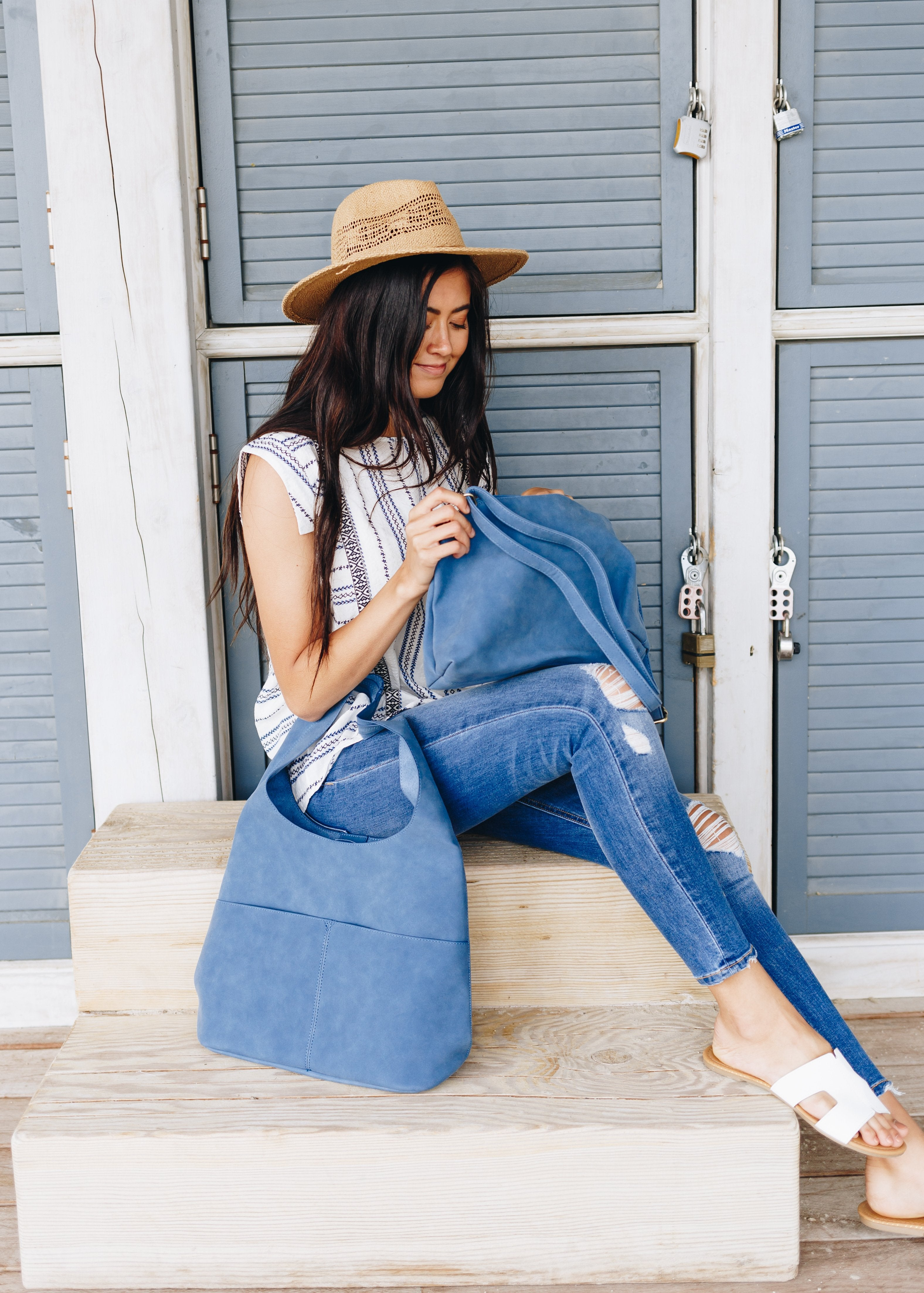 Jenny Sueded Hobo Bag in Marine Blue