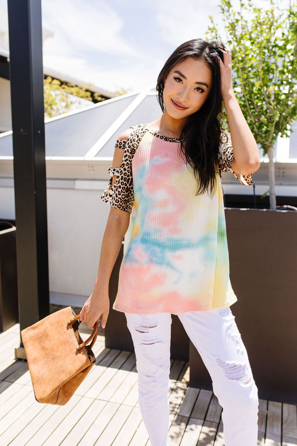 Ladder Sleeve Leopard & Tie Dye Top