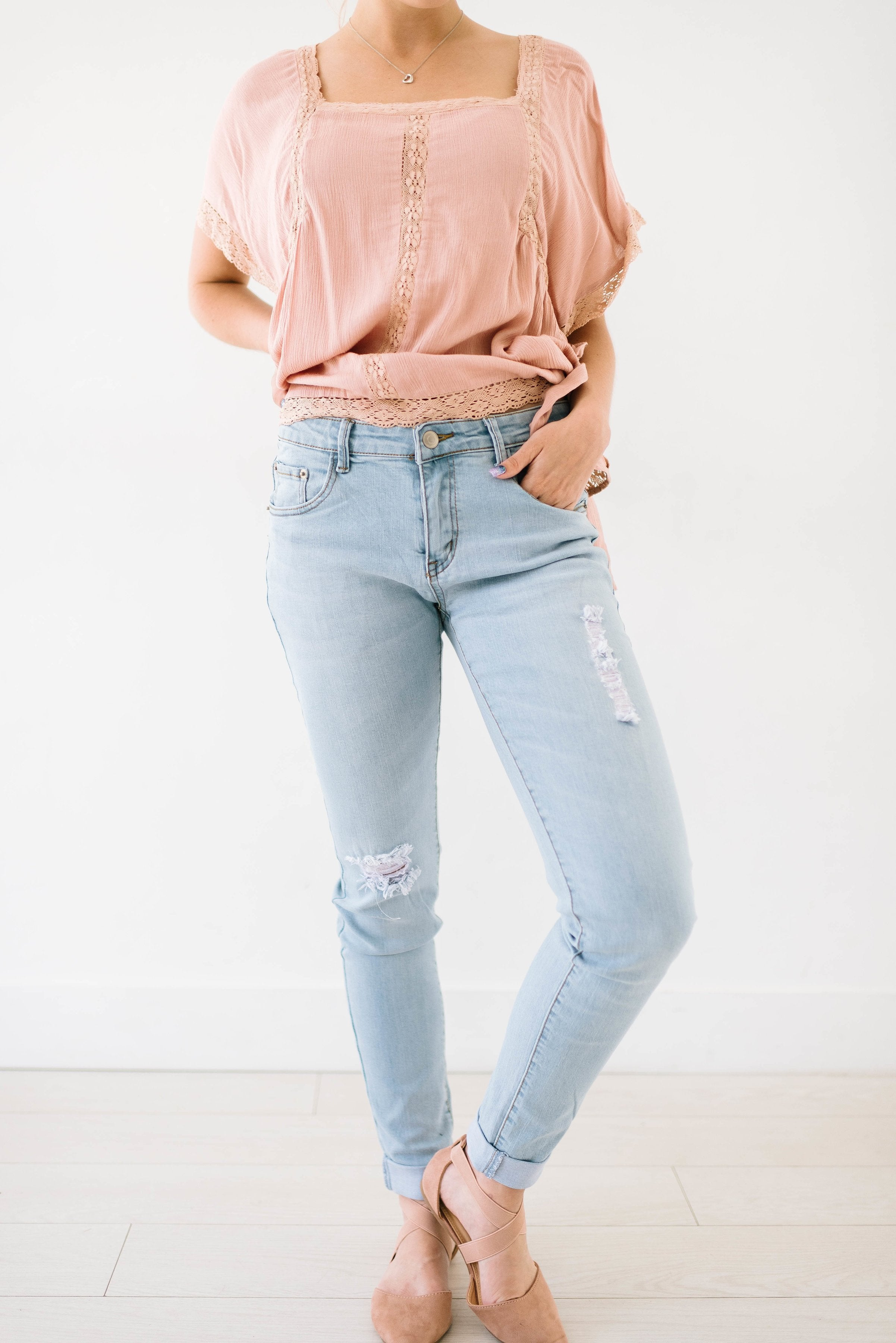Light Wash Distressed Rolled Hem Jeans