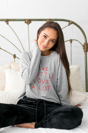 Lots Of Love Graphic Tee In Gray - ALL SALES FINAL