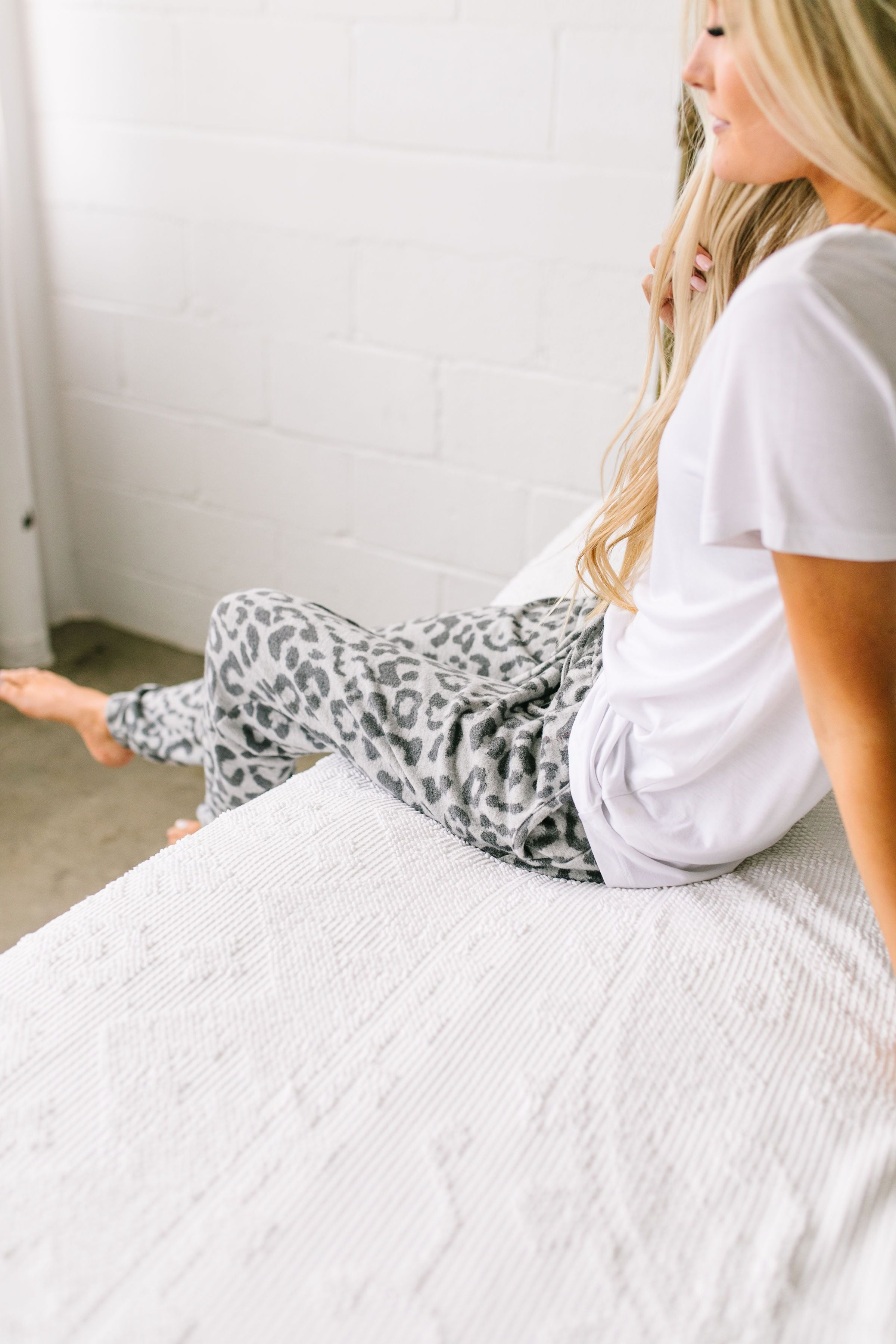 Luxuriously Soft Leopard Print Joggers In Gray