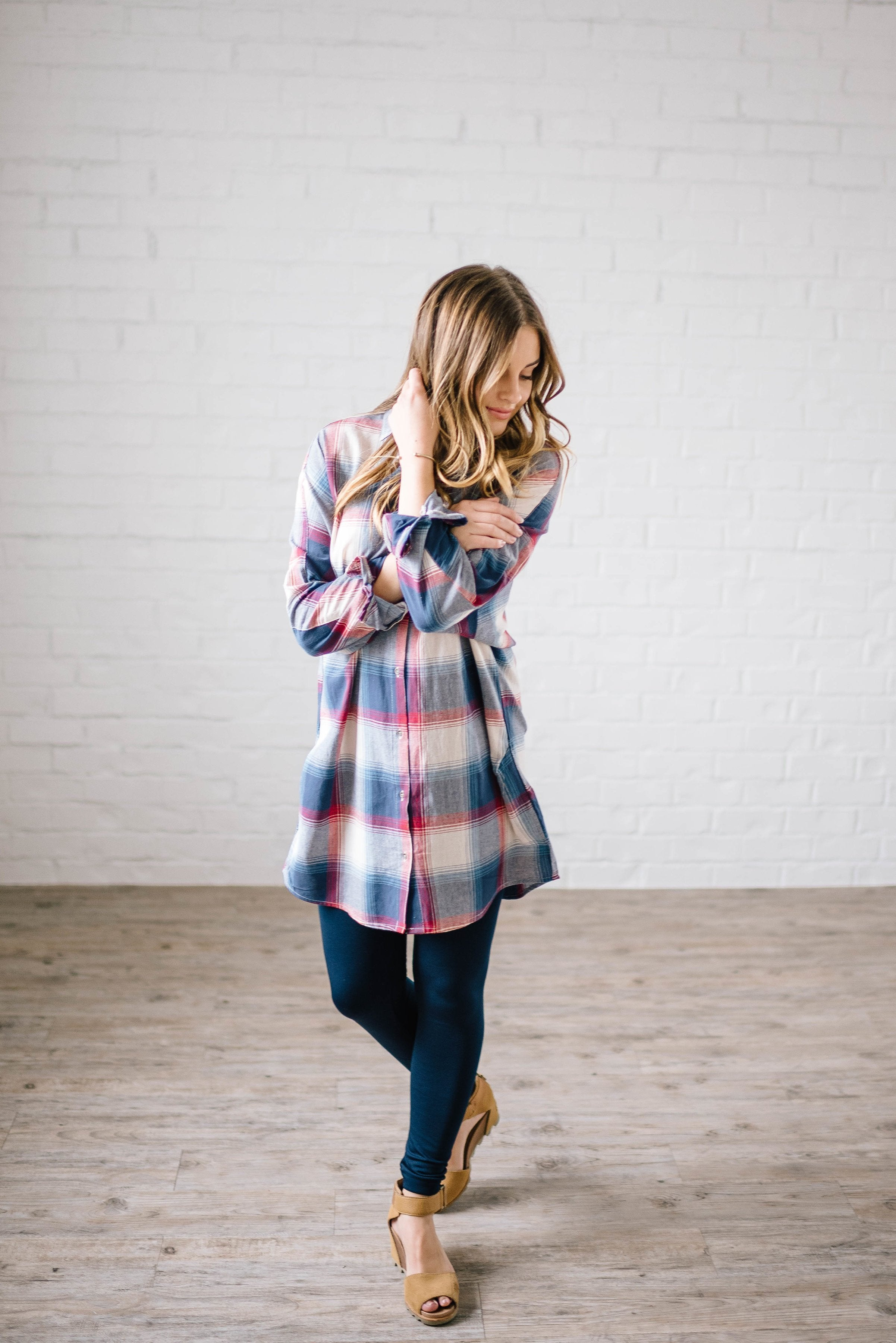 Mad About Plaid Tunic in Navy