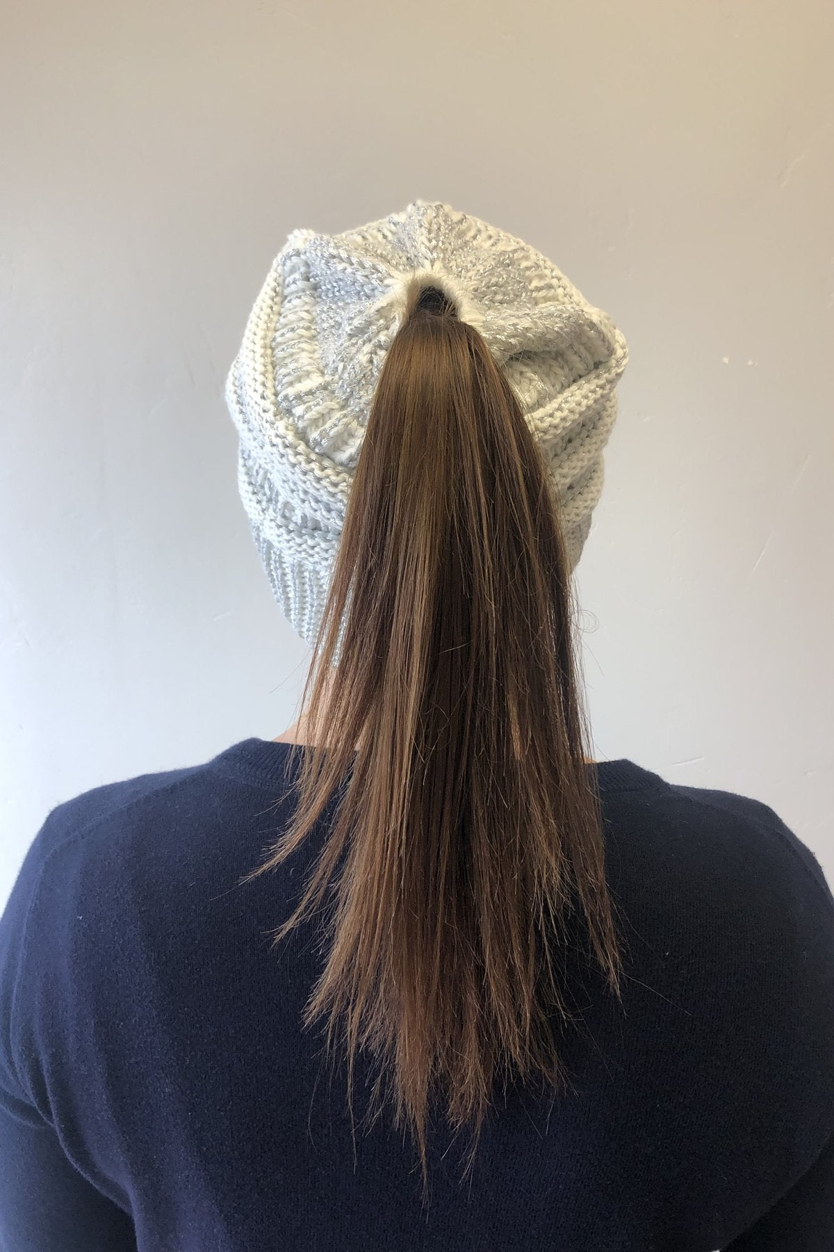 Messy Bun Metallic Beanie In Ivory Metallic Silver - ALL SALES FINAL