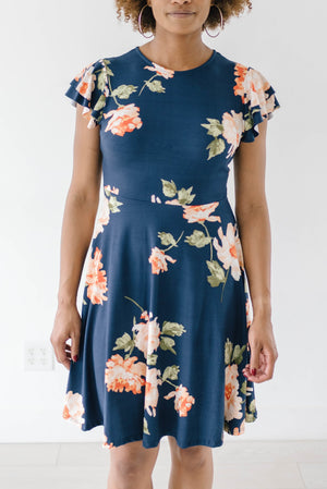 Orange Blossom Dress in Navy