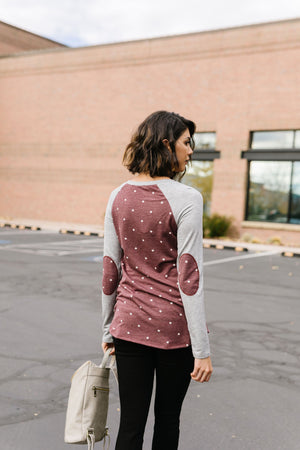 Polka Dot Elbow Patch Raglan Top