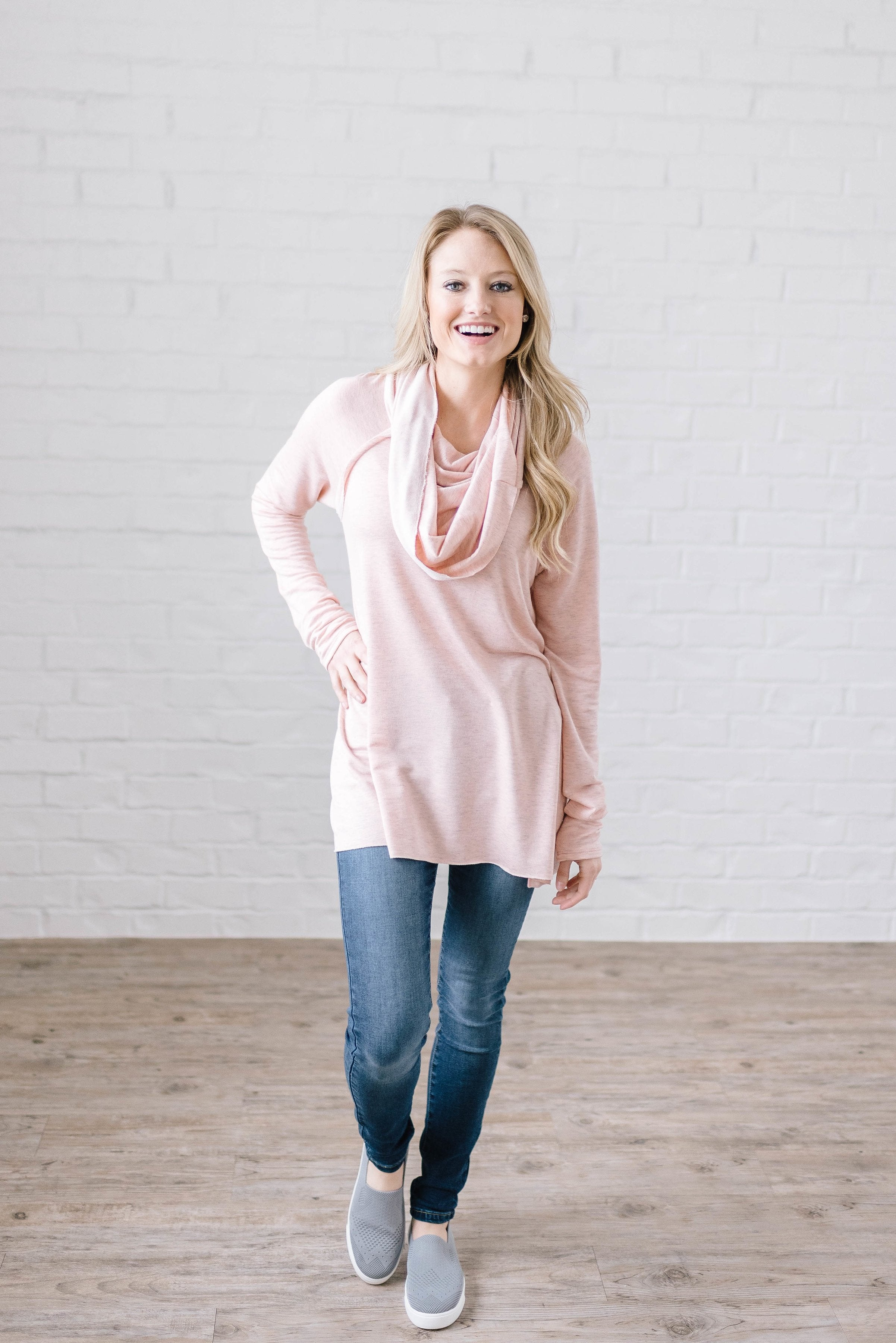 Rainy Day Cowl Neck Tunic in Light Pink