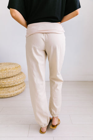 Relaxed Natural Linen Joggers