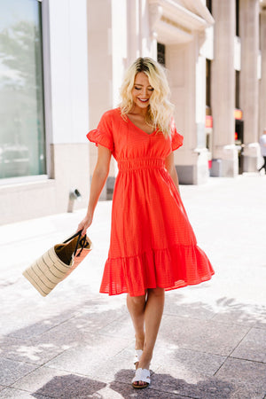 Summer Fling Coral Midi Dress