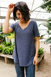 Swiss Dot V-Neck In Slate
