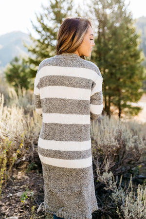 The Amelia Striped Cardi in Gray- ALL SALES FINAL