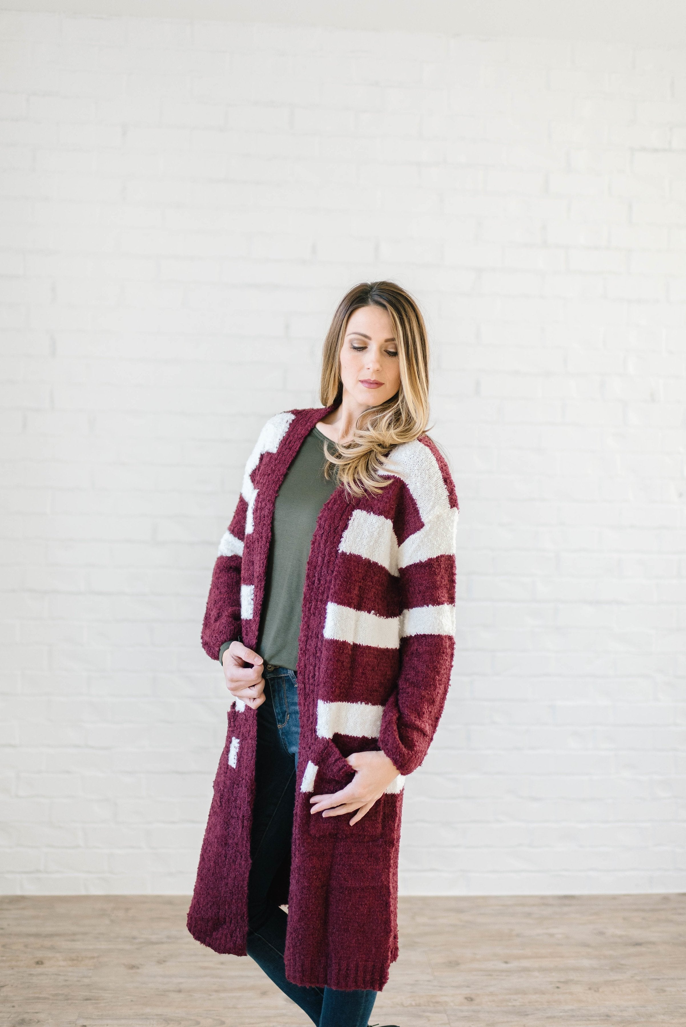 The Amelia Striped Cardi in Mulberry - ALL SALES FINAL