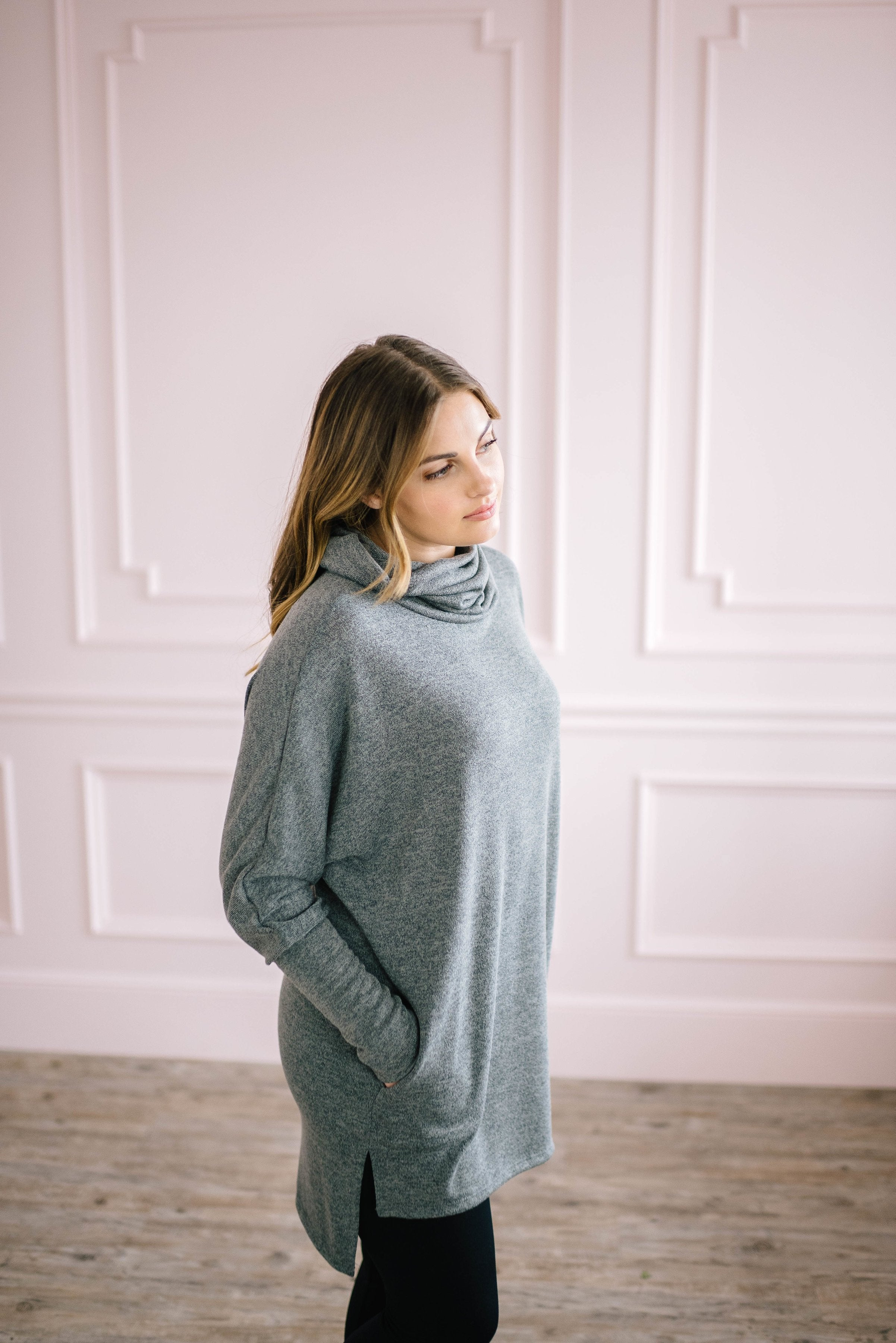 The Brighton Cowl Neck Tunic in Charcoal