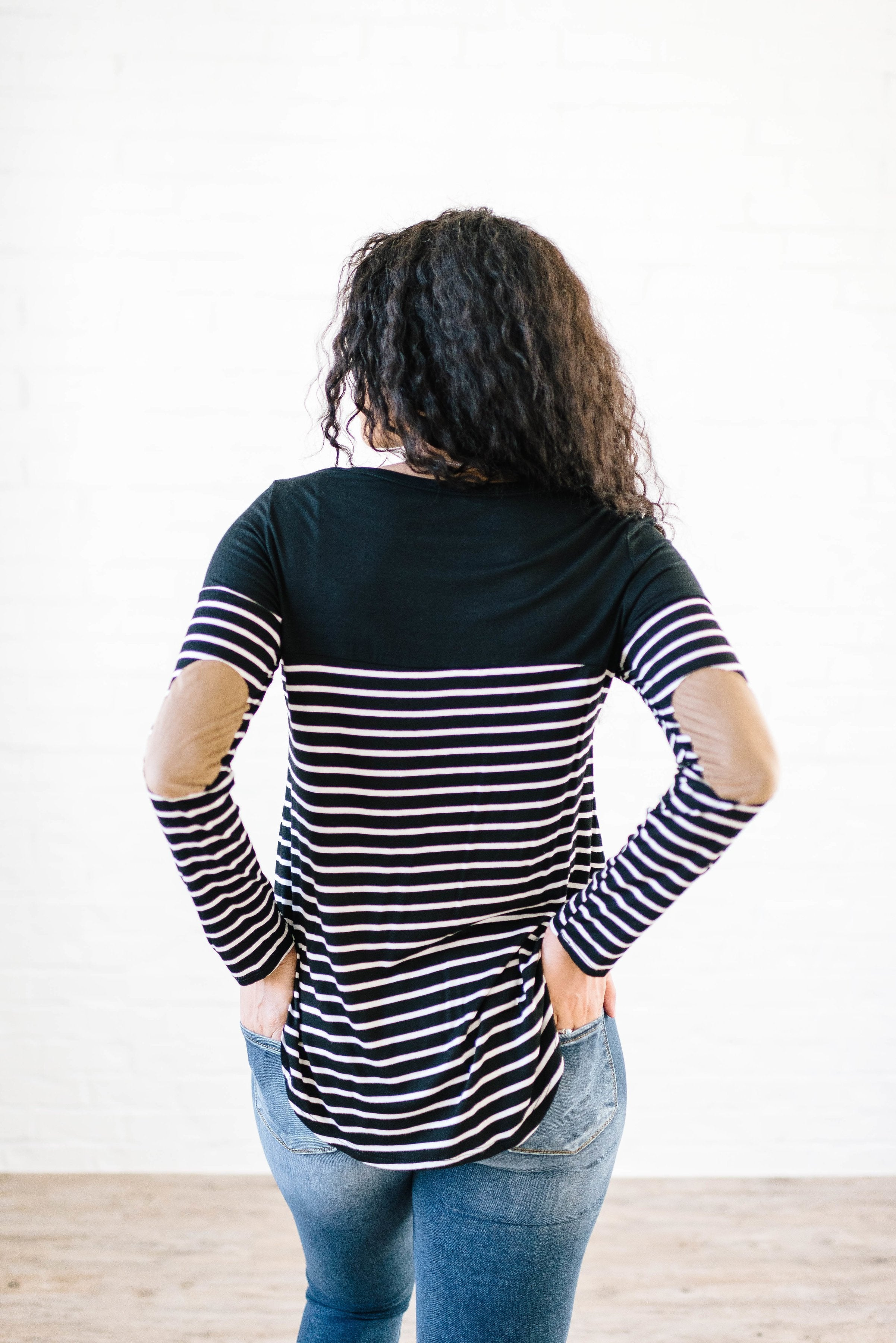 Lincoln Long Sleeve Top in Black & Cream