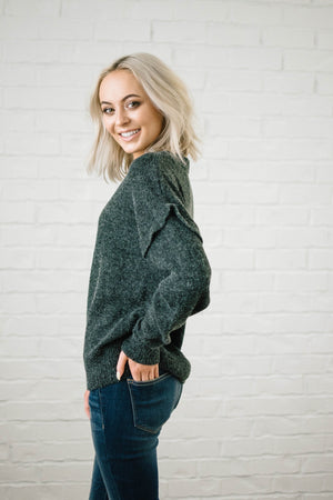 The Rosslyn Ruffle Sweater in Charcoal