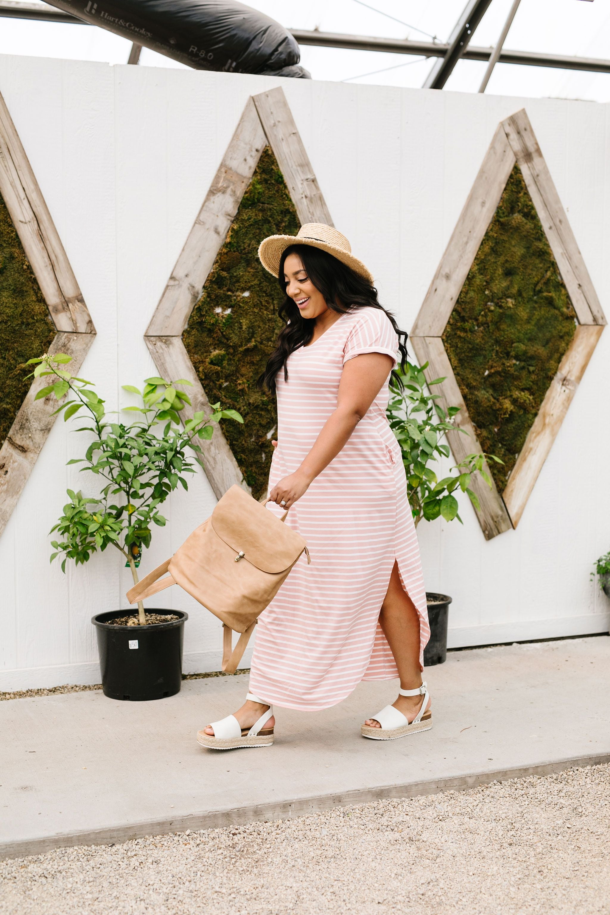 To The Max Striped Maxi In Blush