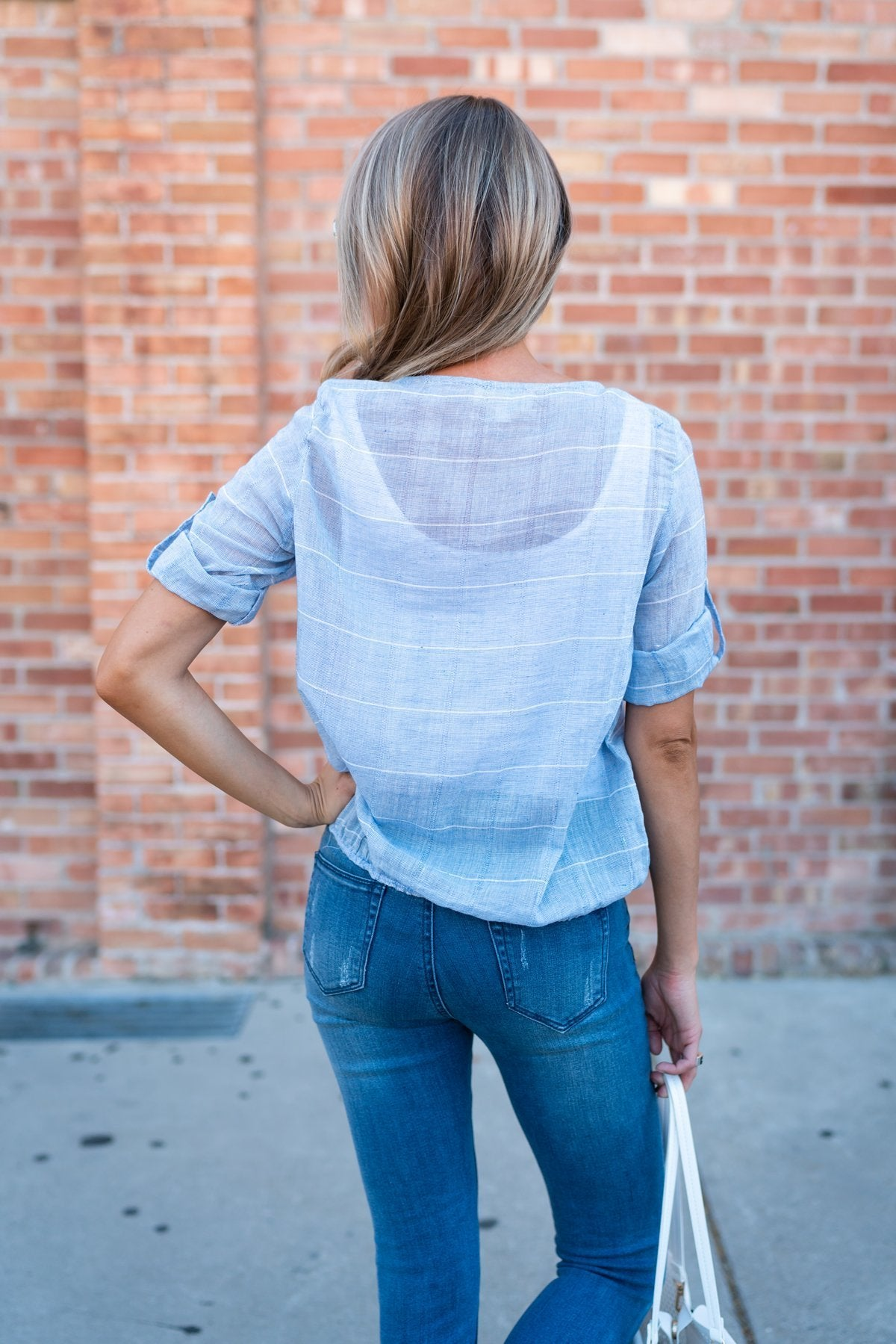 Weekday Blues Wrap Top