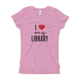 I Love My Library Girl's Fitted Tee