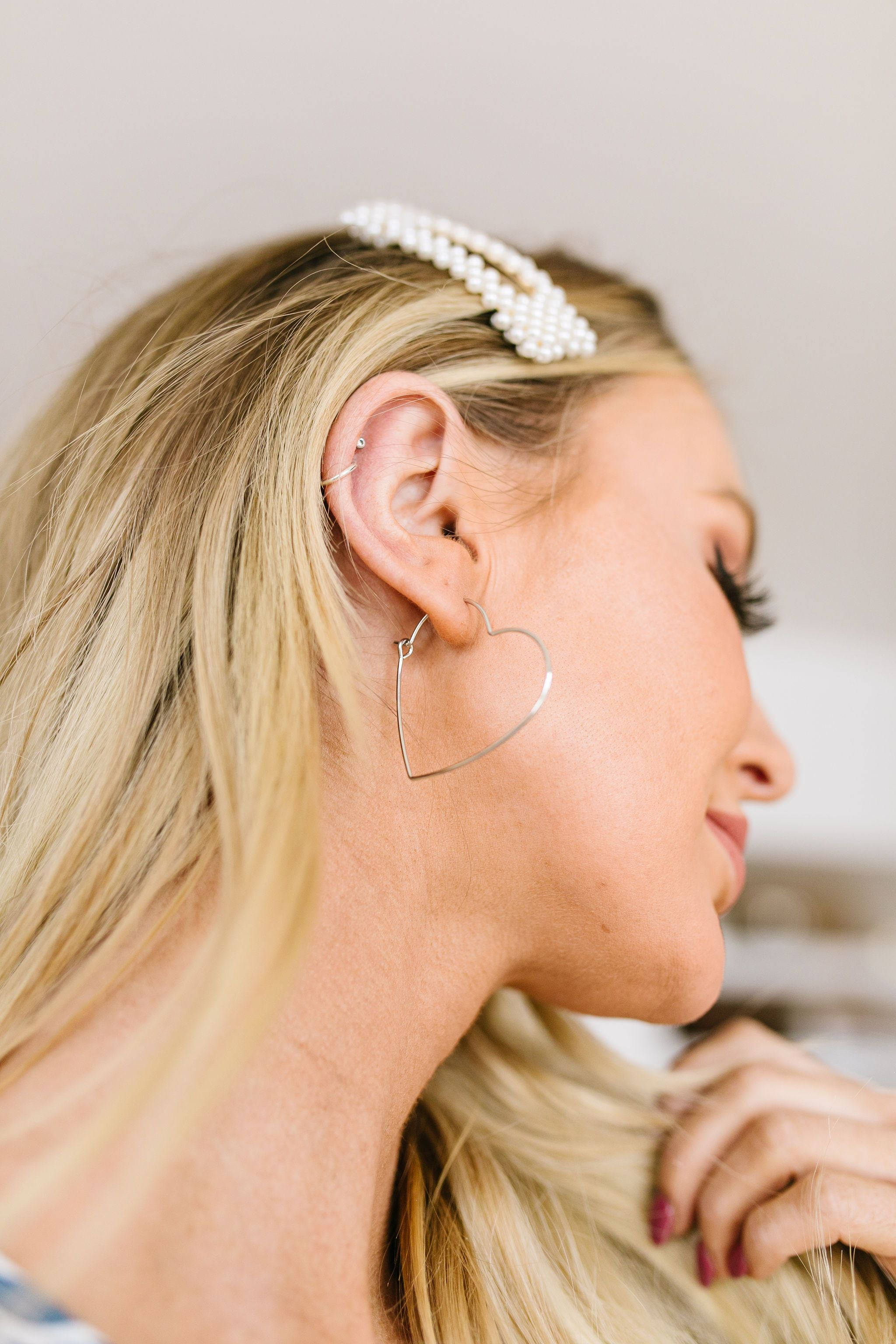 Young At Heart Earrings in 24K White Gold