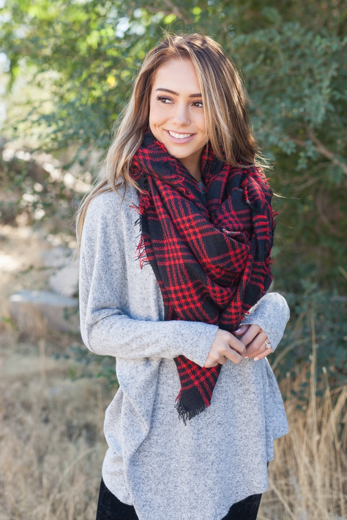 Frayed & Fringed Scarf In Red + Black