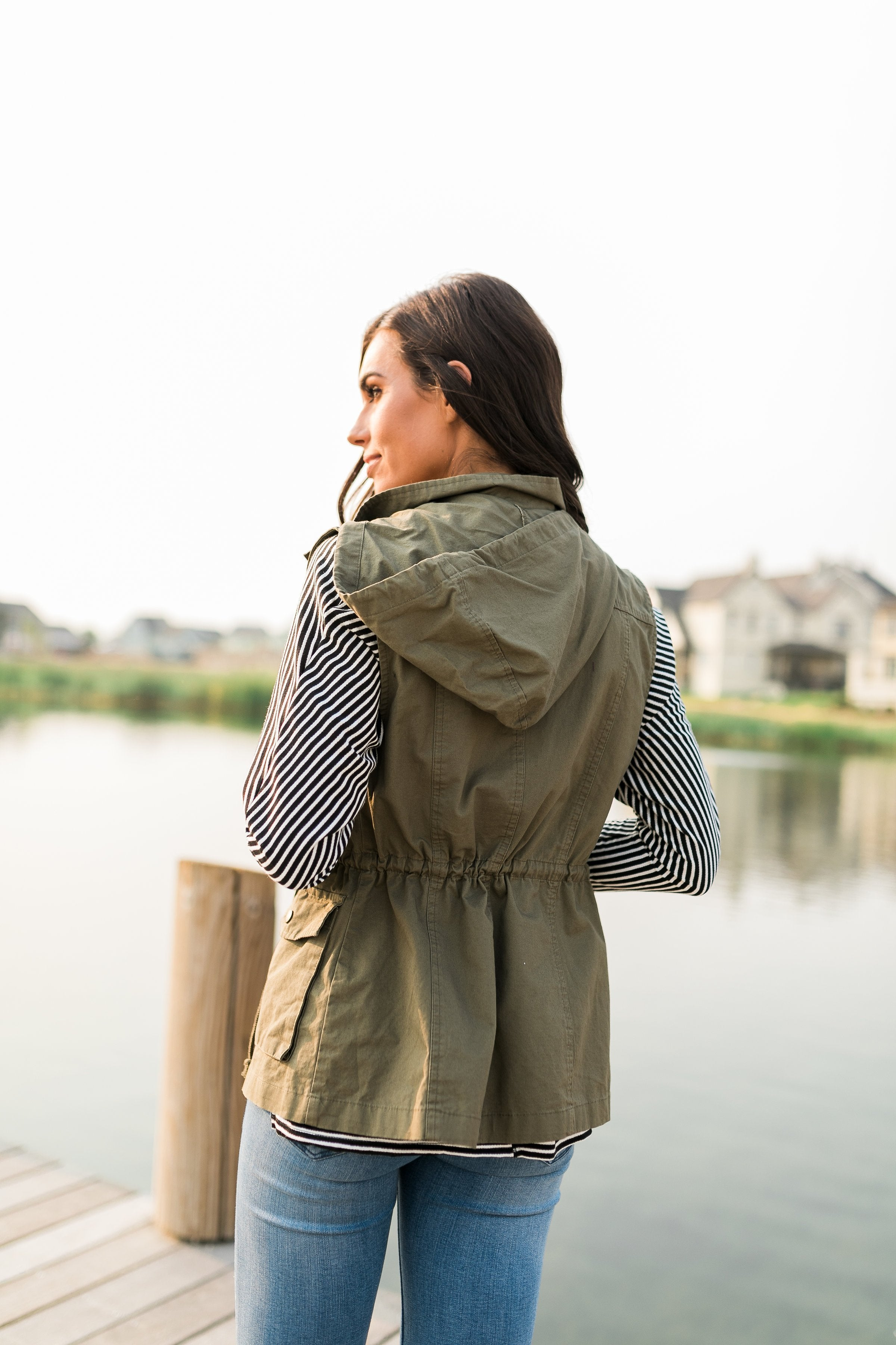Hooded Camp Vest In Olive - ALL SALES FINAL