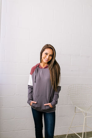 Just Chillin' Color Block Hoodie In Gray - ALL SALES FINAL