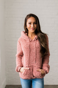 Kangaroo Pocket Shearling Hoodie In Mauve