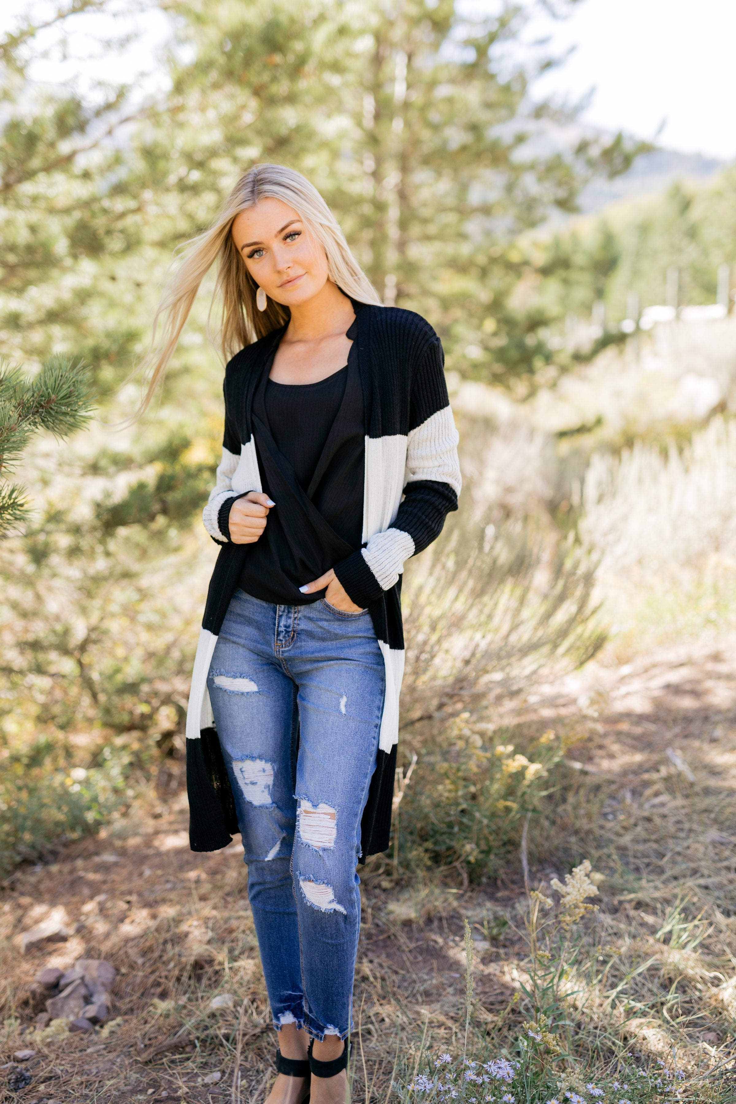 Look To The Cardigan In Black + White