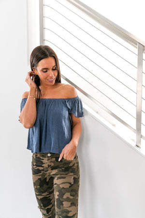 Midnight Magic Off-Shoulder Top - ALL SALES FINAL