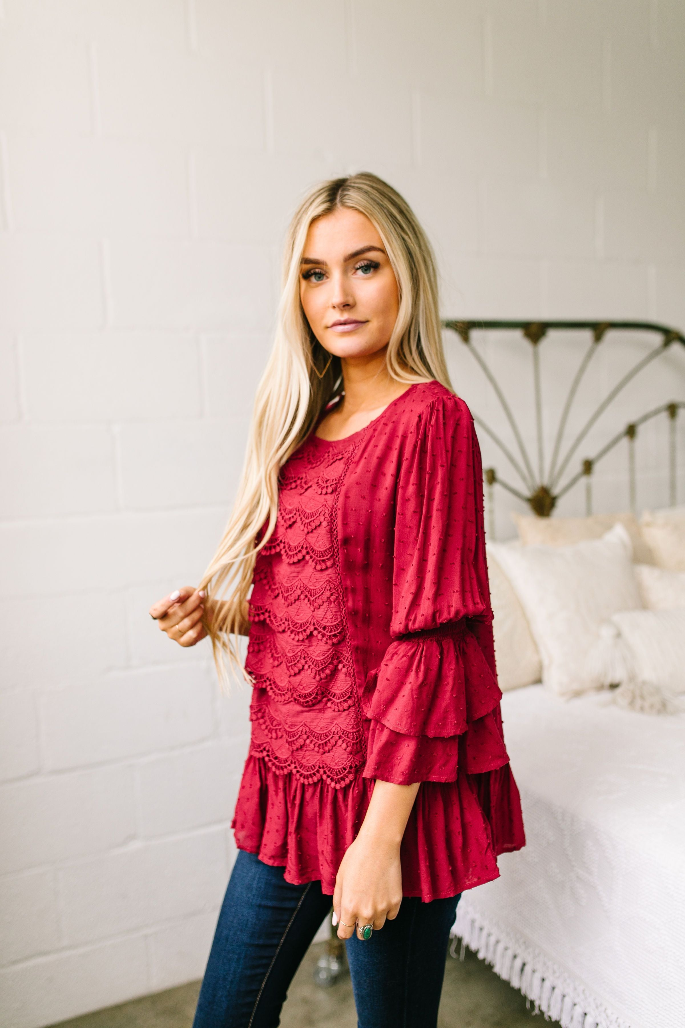Play It Again Samantha Lace Top In Red - ALL SALES FINAL