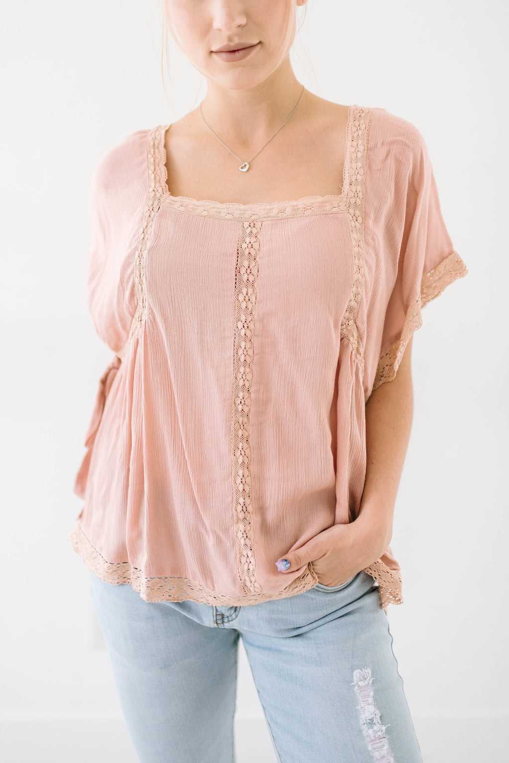 Pretty in Pink Peasant Top - ALL SALES FINAL