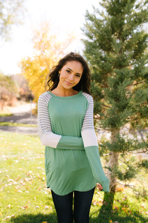 Stacked Sleeve Raglan Tee In Sage - ALL SALES FINAL