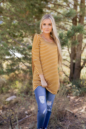 Steady She Goes Striped Top In Mustard
