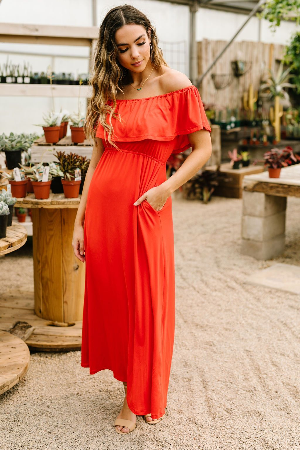Summer Breeze Ruffled Maxi Dress In Red