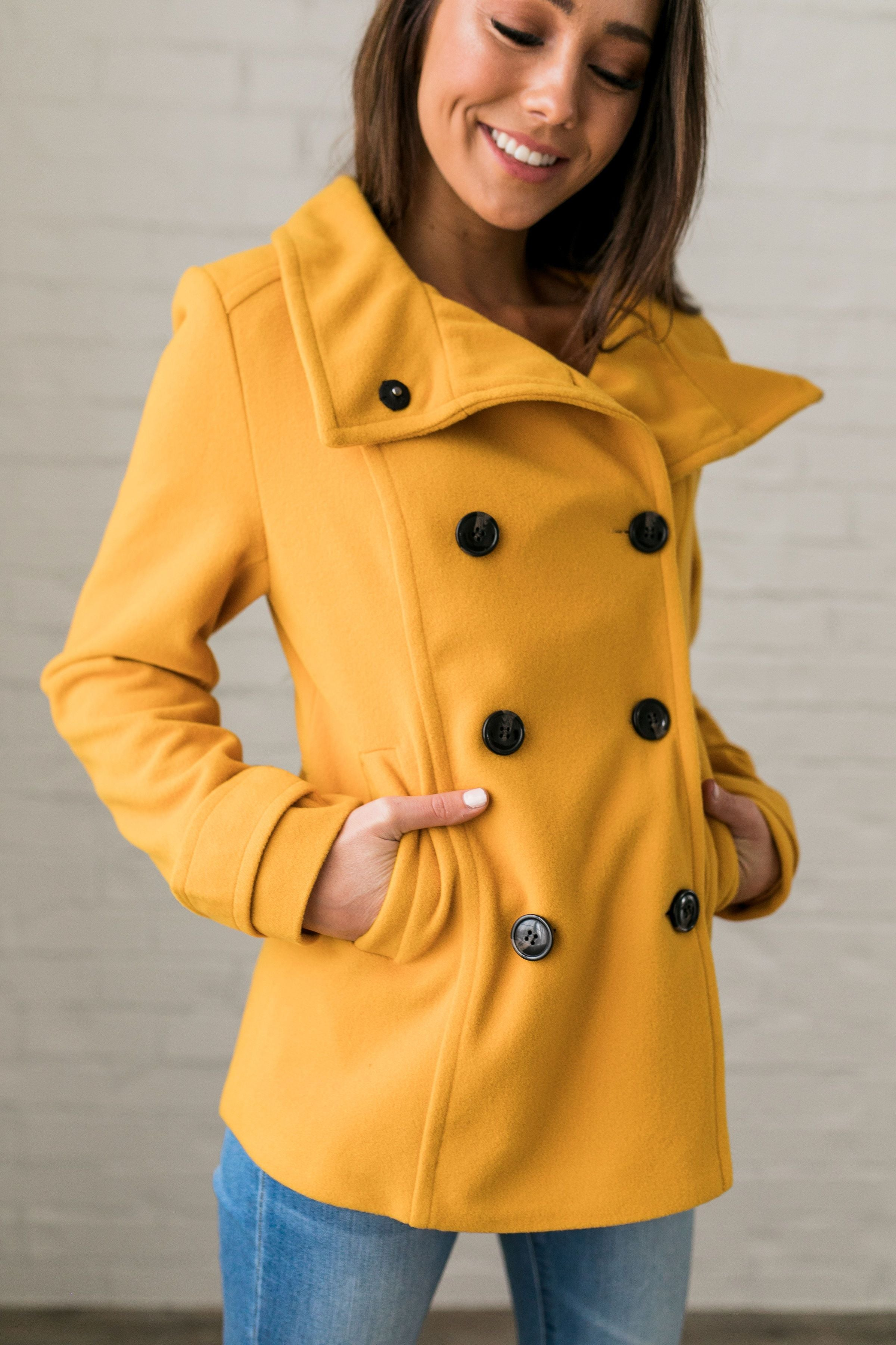 for whole family new appearance top brands Sunshine Yellow Peacoat - ALL SALES FINAL