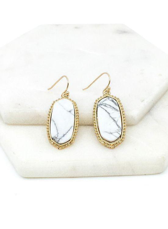 White Stone Drop Earrings