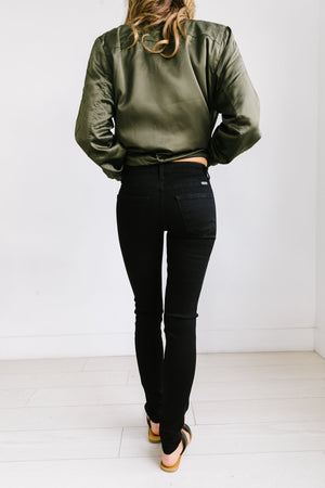 Ripped Knee Black Skinny Jeans - ALL SALES FINAL