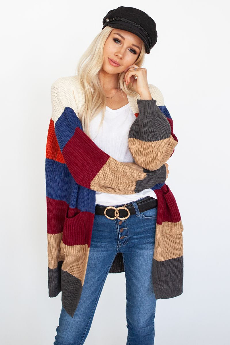 Classic Cable Knit Color Block Cardi