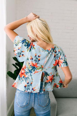 Tropical Paradise Blouse In Light Blue