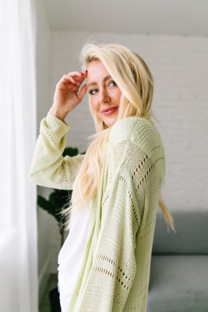 Open Knit Cardi In Melon