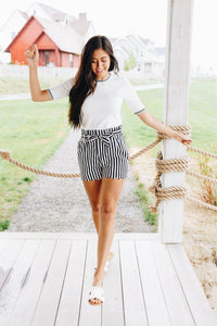 Amber Scalloped Hem Striped Shorts